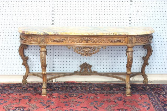 French style marble top heavily carved sideboard