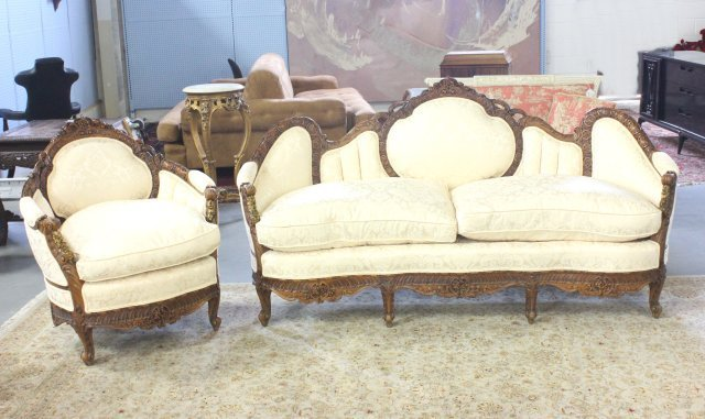 Walnut French living room suite heavily carved