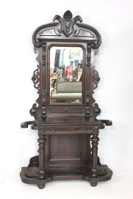 American Victorian rosewood hall rack