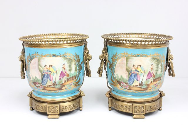 Pair 40 year old cache pots with Russian stamp