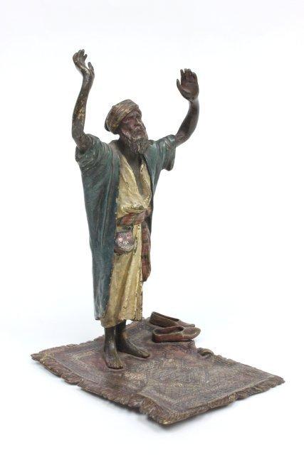 """19thc Vienese bronze """"Arab Man Praying"""" Bergman stamp"""