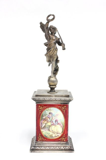 """19th c. French enamel """"Winged Victory"""" statue"""