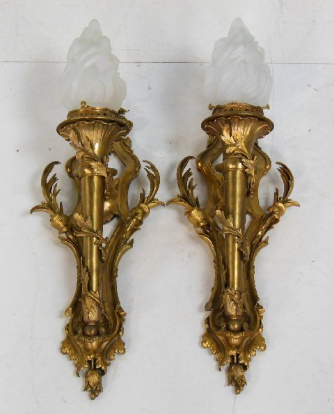 Pair scroll baroque style bronze sconces
