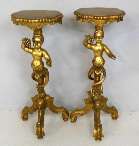Pair 19th c. giltwood carved  pedestals