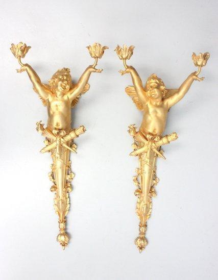 Pair Dore finish bronze figural sconces