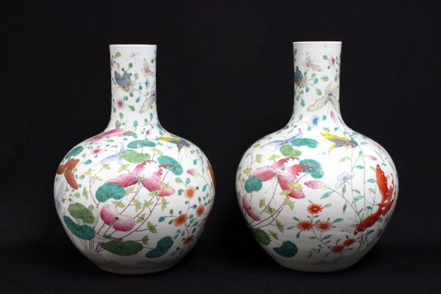Pair Falangcai/Famille Rose Butterfly global vase