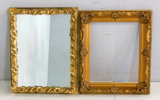 Gilt mirror with gesso frame & gilt picture frame