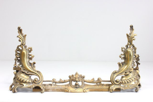 Brass andirons with fender