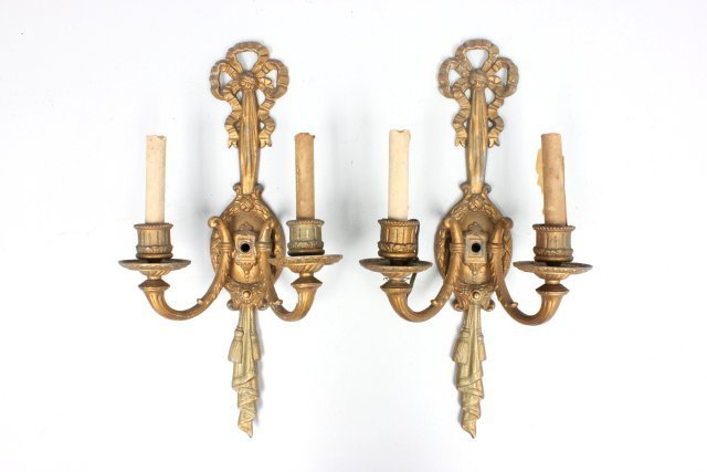 Pair metal sconces with gold paint