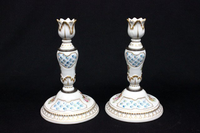 Pair porcelain French candlesticks