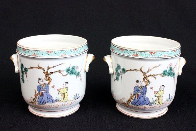 Pair Paris, France porcelain cache pots