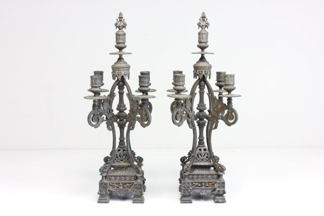 Pair 19th c. 5 armed Gothic style candelabrum