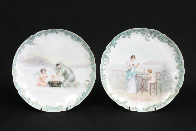 Early 20thc Pair of Limoges hand painted plates