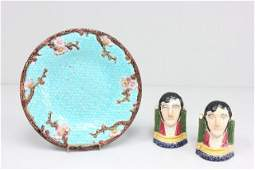 Group lot of porcelain figures  Majolica plate