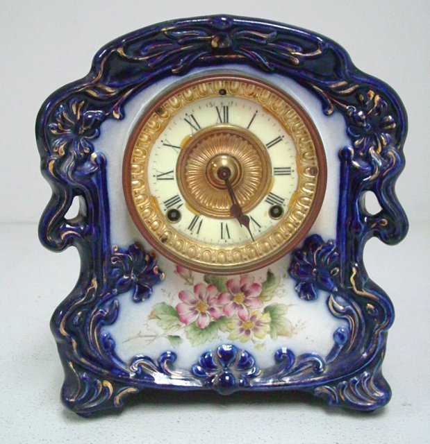 Ansonia porcelain clock marked  'Thistle'