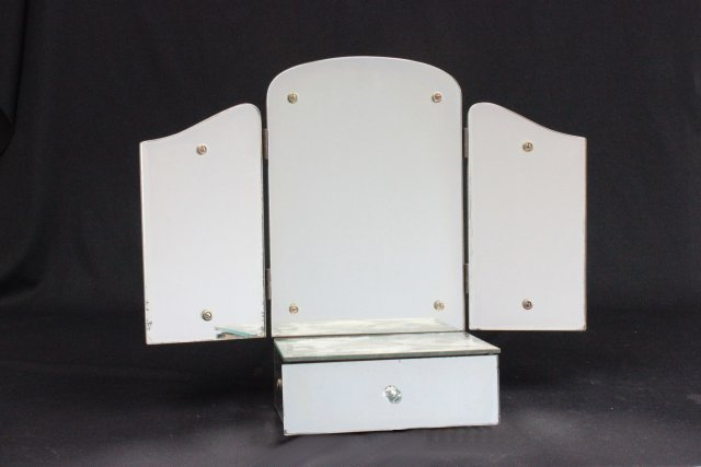 Mirrored dresser top with trifold mirror top
