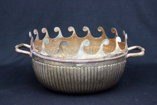 Indian etched brass tureen