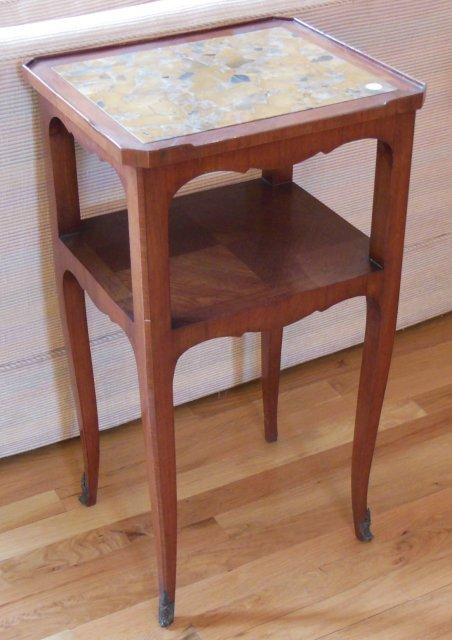 End table with inset marble top