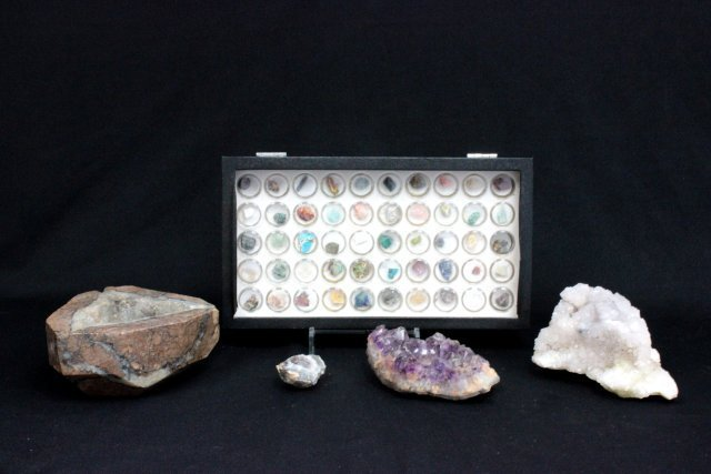 Box lot of 50 minerals & 1 quartz rock