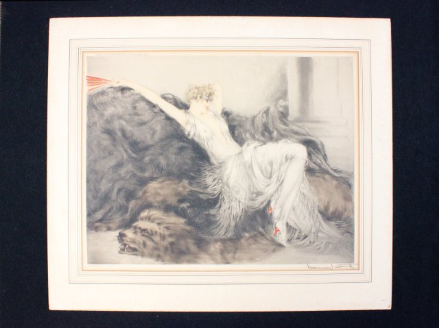 """Louis Icart style print """"Woman with Red Fan"""""""