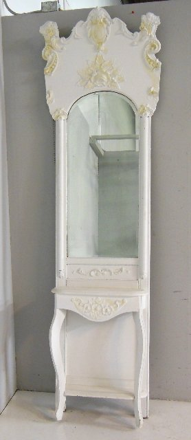 Victorian hall mirror with floral carving