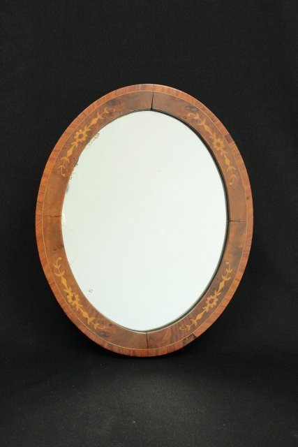 Walnut & satinwood oval mirror