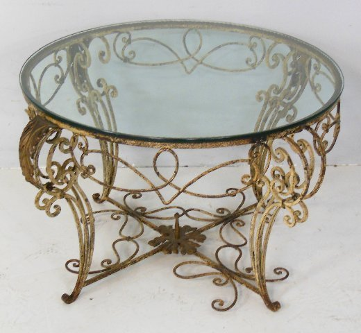 Round iron glass top center table