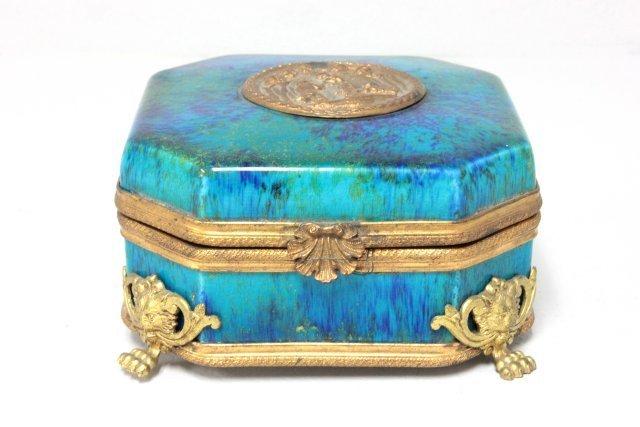 Sevres porcelain and gilt metal box signed