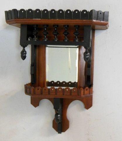 Victorian mirrored back 2 tone wall shelf
