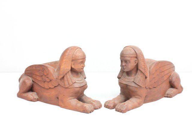 """Pair antique carved wood """"Sphinxes"""""""