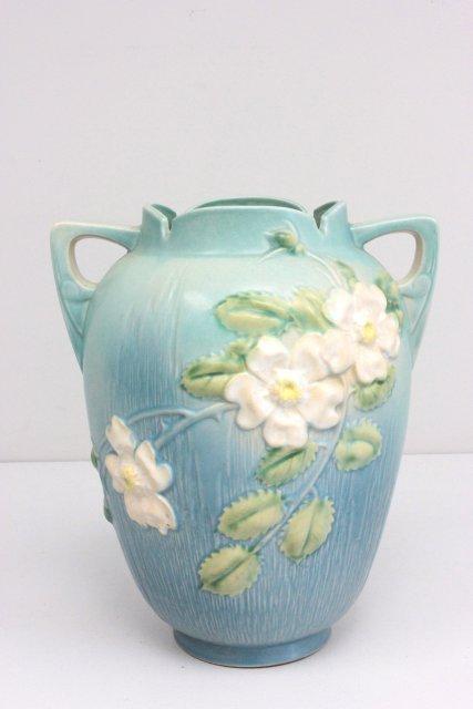 """Roseville """"Apple Blossom"""" tall handled vase"""
