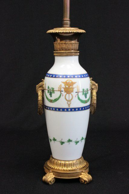 19th c Sevres bronze mounted urn mounted as a lamp