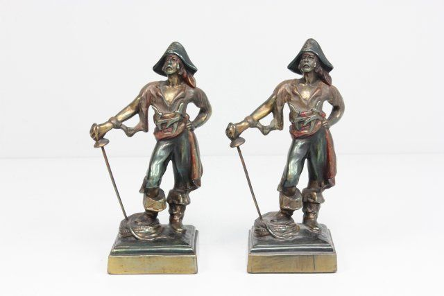 Pair bronze clad figural bookends