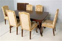 Banded dining room table & 6 chairs