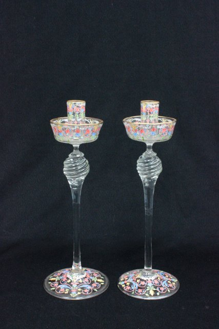 Pair Venetian glass handpainted candle sticks