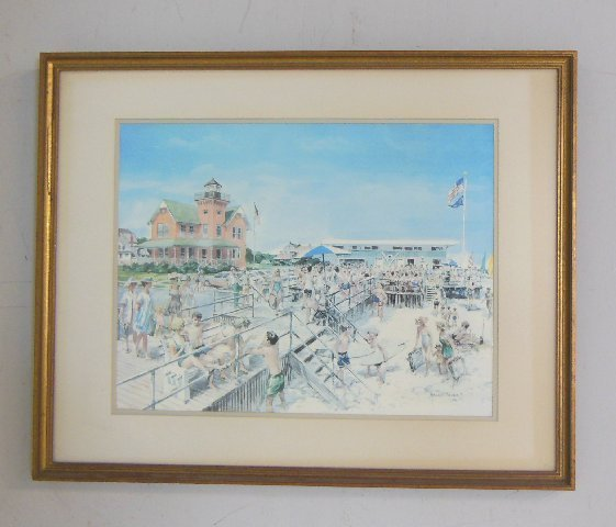 "Harry Tower watercolor ""Beach Scene"""