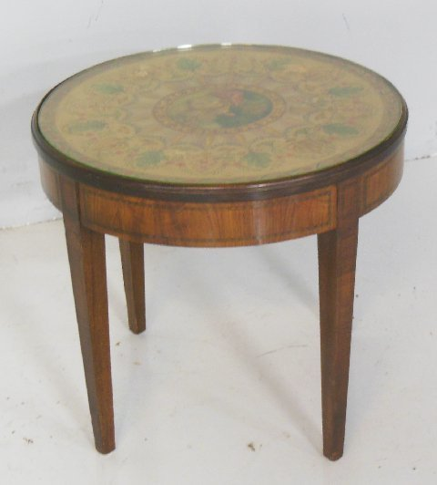 Adams decorated tea table with banded base
