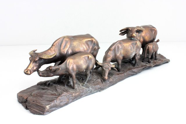 "Contemporary bronze sculpture of ""Cows"""