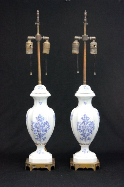 Pair French porcelain lamps