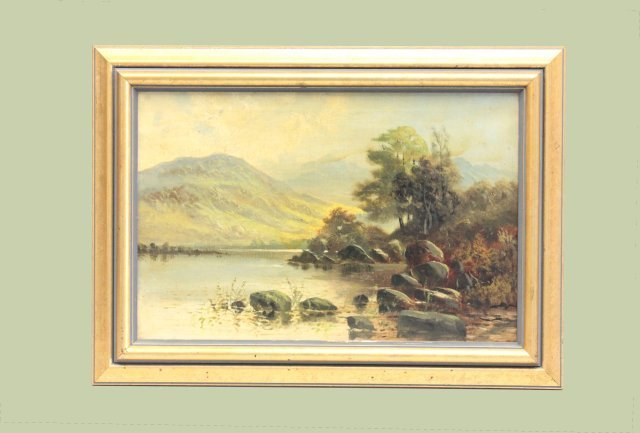 "19th c. oil painting ""Lake by Mountainside"""