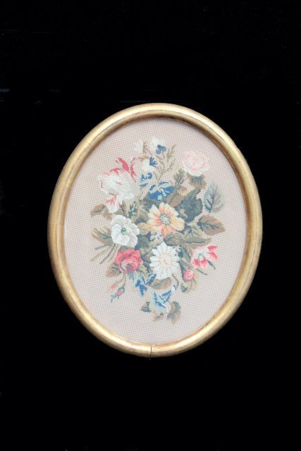 "19th c. oval pettipoint of ""Roses & Flowers"""