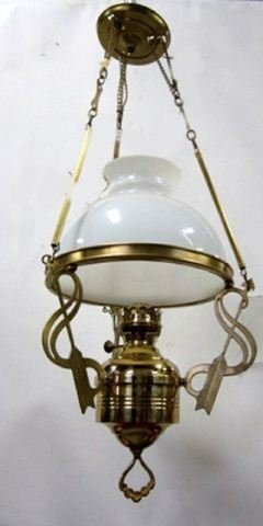 Hanging brass reproduction kerosene fixture