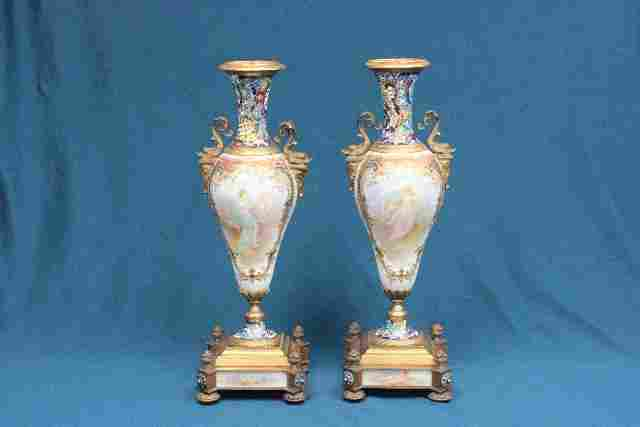 Pair 19th c.  French Enameled & Bronze Urns