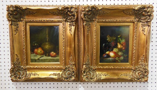 "Pair small gilt framed oil paintings ""Still Life"""