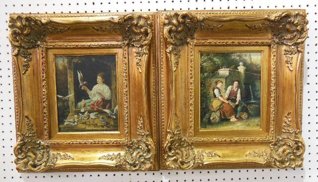 Pair small gilt framed oil paintings