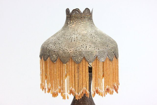 Moroccan beaded brass table lamp ca. 1920's - 2