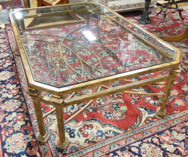 Brushed metal & beveled glass coffee table