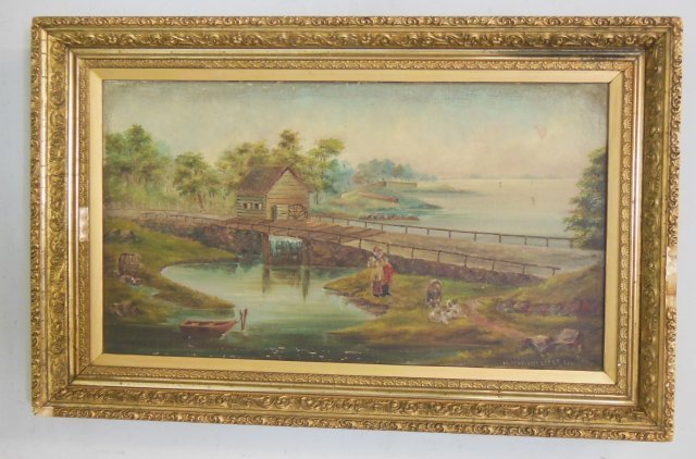 "Gilt framed oil painting ""People by Bridge"""