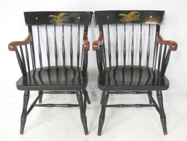 Pair Hitchcock arm chairs
