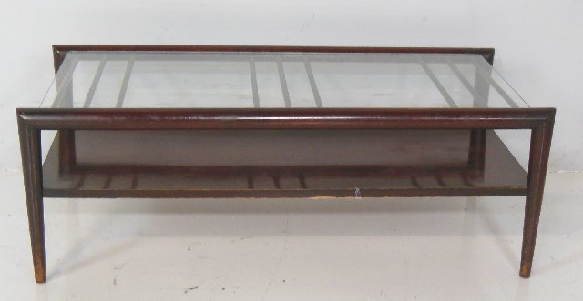 Stanwyche mahogany & glass coffee table ca. 1950's